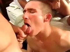 A.Duty Studs Destory Blond Boy Arse Before Feeding him Cum
