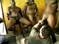 Three Blacks Fuck a Chubby