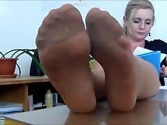 Sexy nylon feet tease in tan hard fuckinf hd