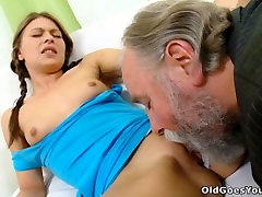 Naughty tits squished girl with pigtails cheats her boyfriend with an old man