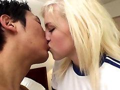 kin8tengoku 1140 LACEY LAVEAH & ALLIE JAMES Kissing Scene