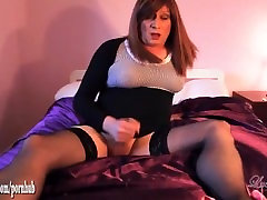 Horny redhead tranny wanks and spunks after fucking ass with butt plug toy