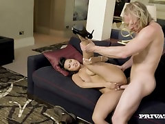 Asian Babe Sharon Lee Gets Takes a Cumshot to her big ass fat pussx Tits
