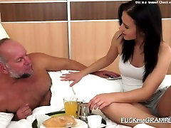 Brunette sucking old mans dick