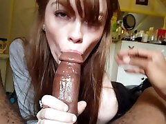 Cute Ginger GF sucks on a thick BBC
