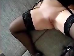 Busty Lady In Stockings Loves To Swallow Cum