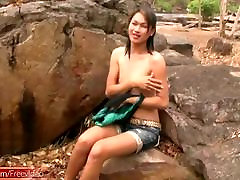 Teen ladyboy with small tits strips naked