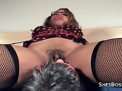 Thick ebony mistress takes a licking from an