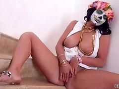 Masked BBW Brunette Women Best Striptease Show HD Video