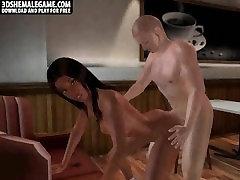 Sexy 3D cartoon ebony tranny babe gets fucked hard
