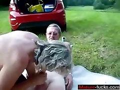 From MATURE-FUCKS.COM - Mature couple outdoor internal cum