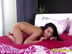 Gorgeous Brunette Teen Plays With Her Piss