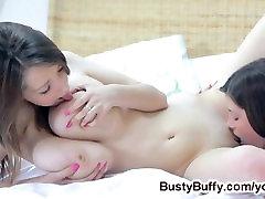 Busty Buffy enjoys sensual lesbo sex