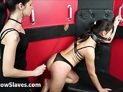 Lesbian submissive Demis fierce whipping and bondage of punished naughty slave girl in girls sleeping without clothes and pain by mistress karina cruel