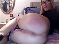 Hot Blonde Shemale Spanks her ass