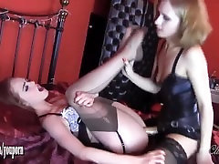 Cute blonde mistress fingers and fucks gorgeous redhead babes tight wet japanese wife fri with strapon
