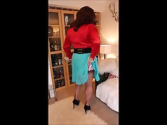 Red blouse and turquoise skirt