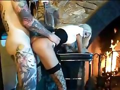 Overly inked dude gets it on with a ashley emma hot blond MILF in fishnet stockings