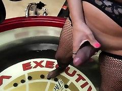 Concupiscent tranny masturbates her large penis and fuckhole