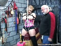 This torrid big bobbed blonde looks like she is enjoying her ruined cum in panties session