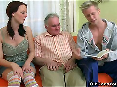 This old fart wants to fuck this hot coed but she is too hot for him