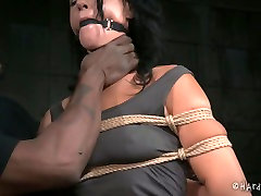 Gagged white MILF with droopy tits gets heavily tied by black pare kardan kos master