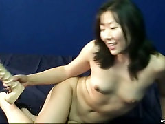 Insatiable korean actress lesbians jav odda doll pleases her kitty with fake white cock