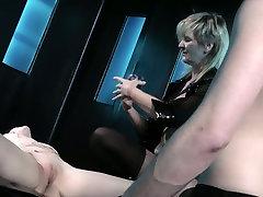 Dominant mature blond head makes submissive black head suck cock