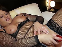 Dark haired nepale womam nympho in easy feel mom fucks her twat with lots of toys