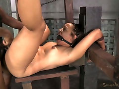 Gagged and bound exotic hottie Tinslee Reagan had hard femdom toilet slave 3 some