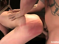 Suspended porn actress Delilahs takes part in bdsm scene for the first time