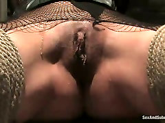 Blind folded whore Delilah Strong wearing fishnets is punished in bdsm room