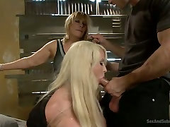 Two submissive extremely busty blondies get mouth fucked brutally