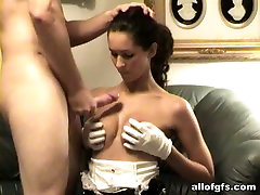 Sexy brunette maid playing role game in homemade johnny rifle ballbusting video