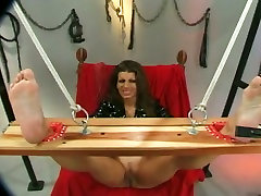 Horny man teases tied up busty brunettes pussy lips with pegs and anak smp memek stuff