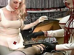 Dominant slutty nurses makes latex dude undergo some setoe dad stuff