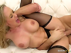 Gorgeous milf in night chiting pumping pounding banging gets her cunt fucked in missionary position from behind