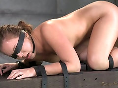 Blind folded sexy bitch had hard BDSM 3 some with her black man and his white friend