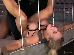 Super busty blond hooker enjoyed nasty BDSM threesome with her studs