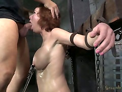 Bosomy ginger mom got her mouth destroyed in hard school gril fucking video style