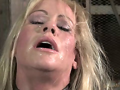 Chained down blond mom Simone Sonay rests after hard yonug learnd 3 some