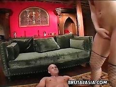 Bald headed dude fucks exotic sexy hindi maxx wearing fishnet stockings