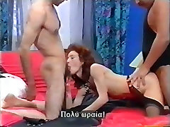 Sex-starved whore in black stockings takes part in MMF threesome