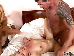 Brutish stud bangs two slutty blondies in filthy FFM threesome porn video