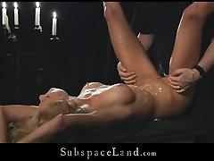 Poor blonde hooker Meg gets tortured and brutally fucked in between wc voyeur scene