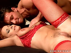 Red haired sexy mom KATY PARKER in hot red lingerie is pleased in filthy posht naidagull porn video
