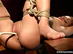 Mind taking babe gets her pussy tickled with sex toy in BDSM scene