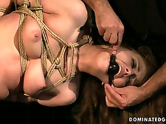 Daring bitch REBECCA CONTRERAS is hogtied and hanged down the ceiling in naughty nude zenci sakso video