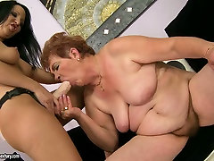 Black haired young brunette gets her fresh pussy eaten by spoiled fatso