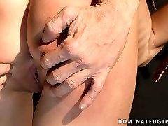 Dirty brunette slut is tied up and punished hard in filthy BDSM porn video